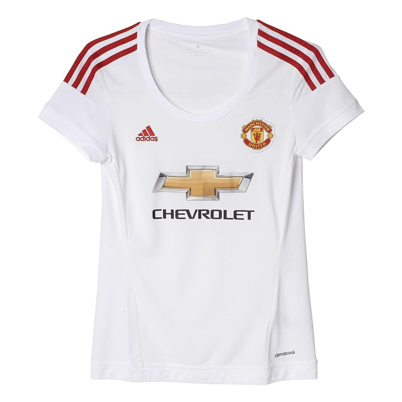 adidas MUFC A JSY W-Camiseta pour Femme Blanc/Rouge