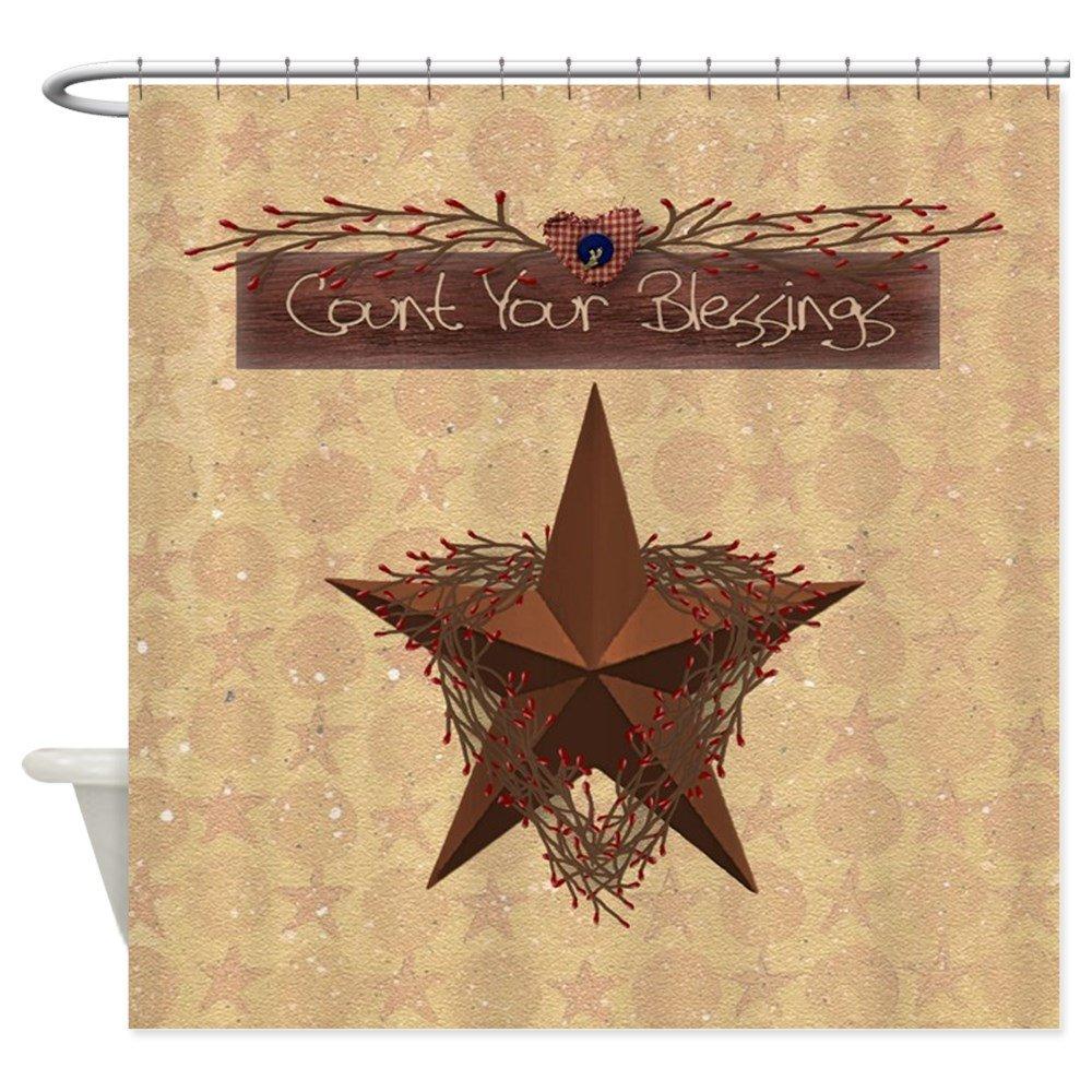 CafePress - Primitive Star - Decorative Fabric Shower Curtain (69x70)