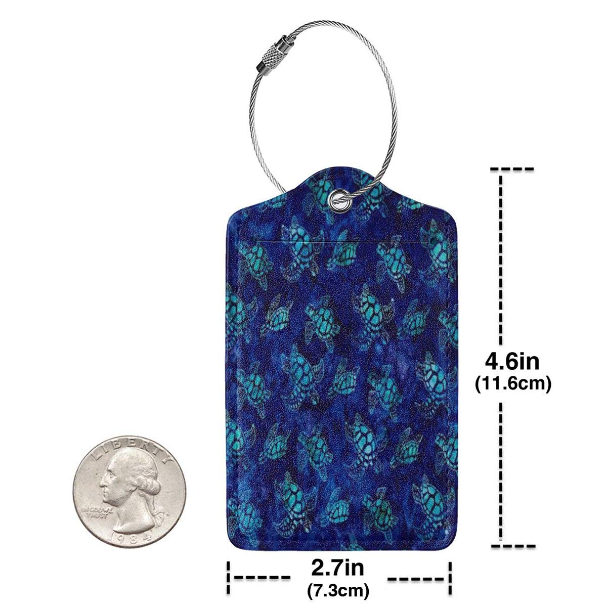 Watercolor Blue Sea Turtle Hawaiian Luggage Tags With Full Back Privacy Cover W//Steel Loops