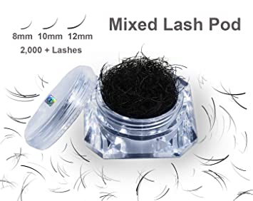 af03f8331bf Eyelash Extension Supplies 2,000 + Individual Lash Extensions .20 Thickness  C Curl Mixed Lash Pod