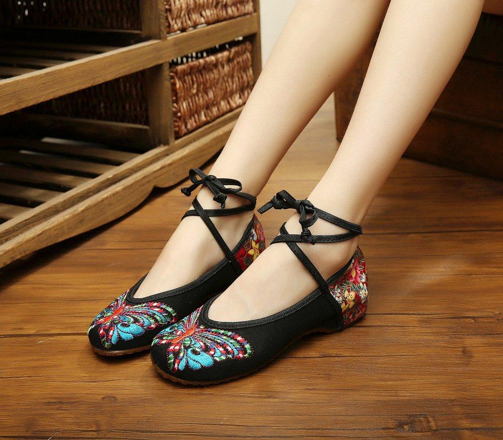 Wunes(TM) ブランドファッション古い北京の蝶刺繍女性の靴中国風フラッツジェーンズカジュアルサイズ34-41柔らかいソールダンスシューズ[5赤] B078KX9V1D 5|赤 赤 5