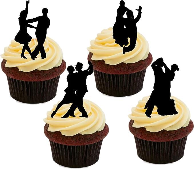Baile de siluetas, decoraciones de la torta comestible ...
