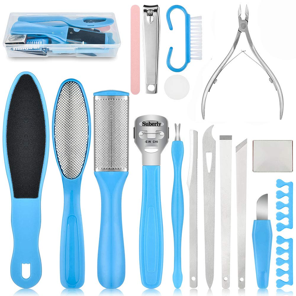 Professional Pedicure Kit 18 in 1, AUSHEN Pedicure Tools Set Stainless Steel Foot Rasp Foot Scrubber Foot File Callus Remover Foot Dead Skin Cleaner Set Foot Care Pedicure Kit for Men Women Salon Home