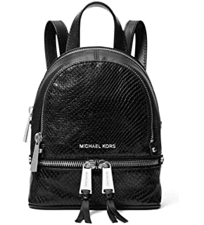 58d521540c71 MICHAEL Michael Kors Rhea Mini Python-Embossed Leather Backpack in Black