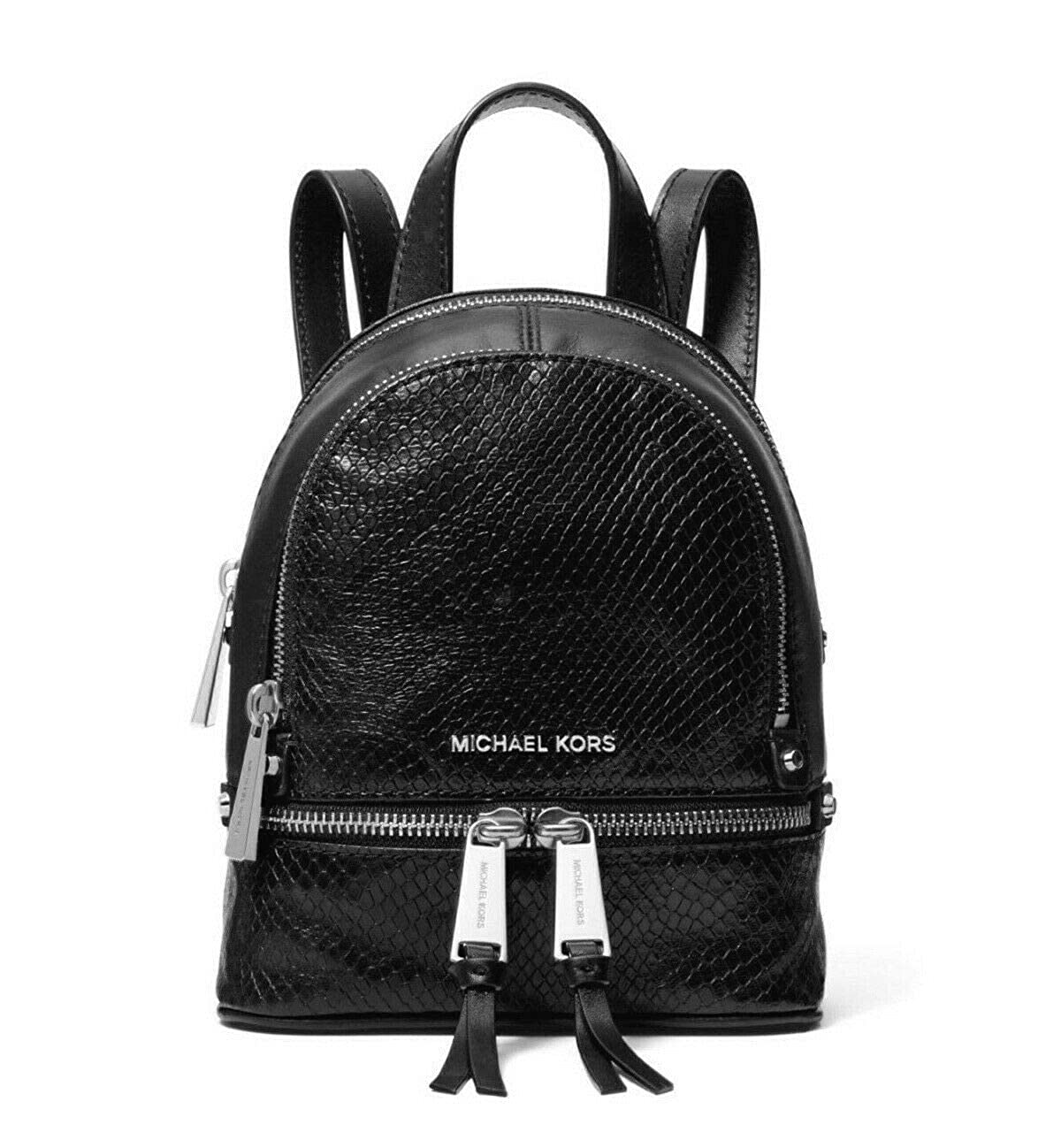 797ac391faa5 Amazon.com  MICHAEL Michael Kors Rhea Mini Python-Embossed Leather Backpack  in Black  Shoes