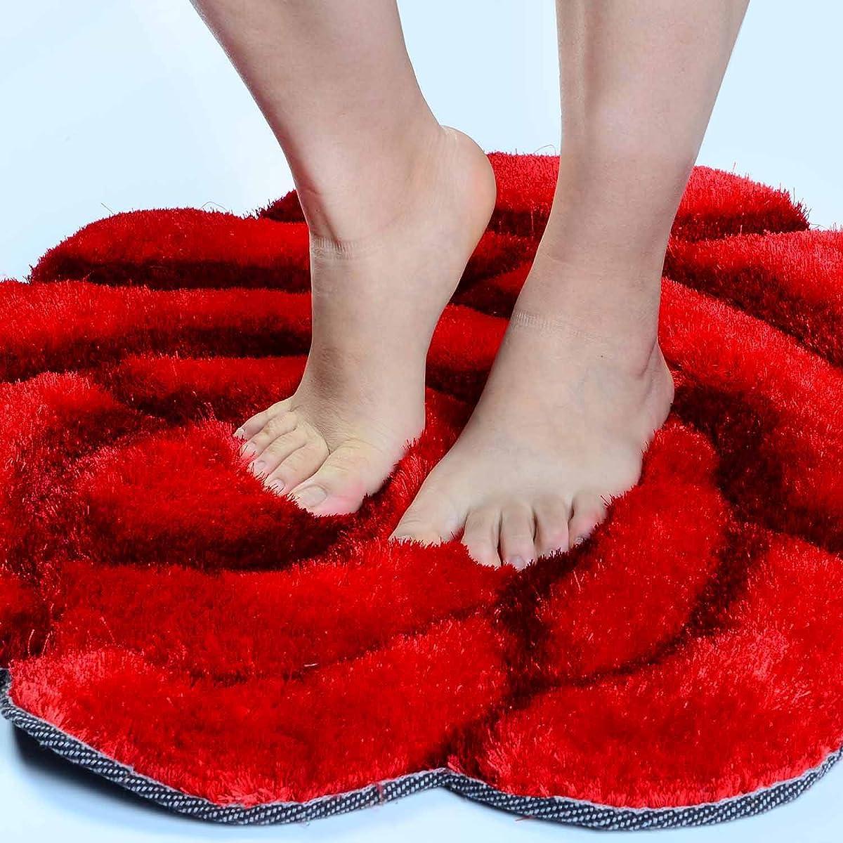 "Rose Design Rugs /Carpet,Flower Shape Shaggy Bedroom Area Rugs Modern Living Room Carpet 3D Floral Rug Soft Shaggy Area Rugs (27.6""/70cm 27.6""70cm) (RED)"