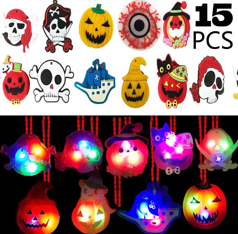 AISENO Halloween LED Light up Necklace 15PC Party Favors Set for Kids Goodie Bag Filler Gift Package by AISENO