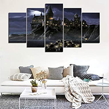 NATVVA 5 Panel Castle Living Room Wall Pictures Poster Framework Modular HD Printed Art Painting Canvas Home Decoration