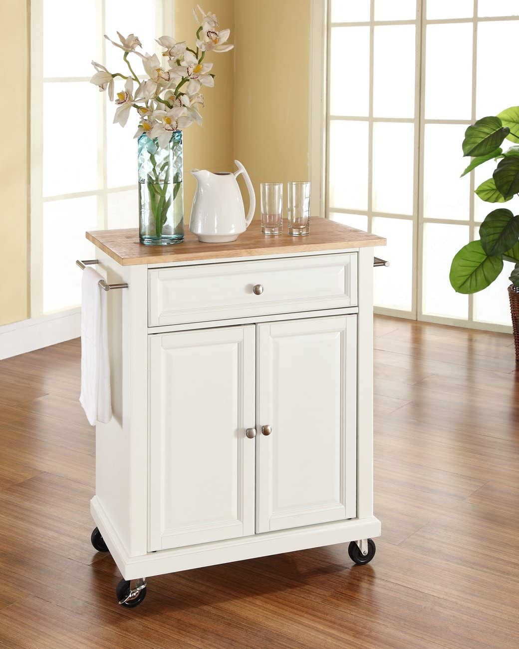Crosley Furniture Cuisine Kitchen Island With Natural Wood Top Vintage Mahogany Kitchen Dining Home Urbytus Com