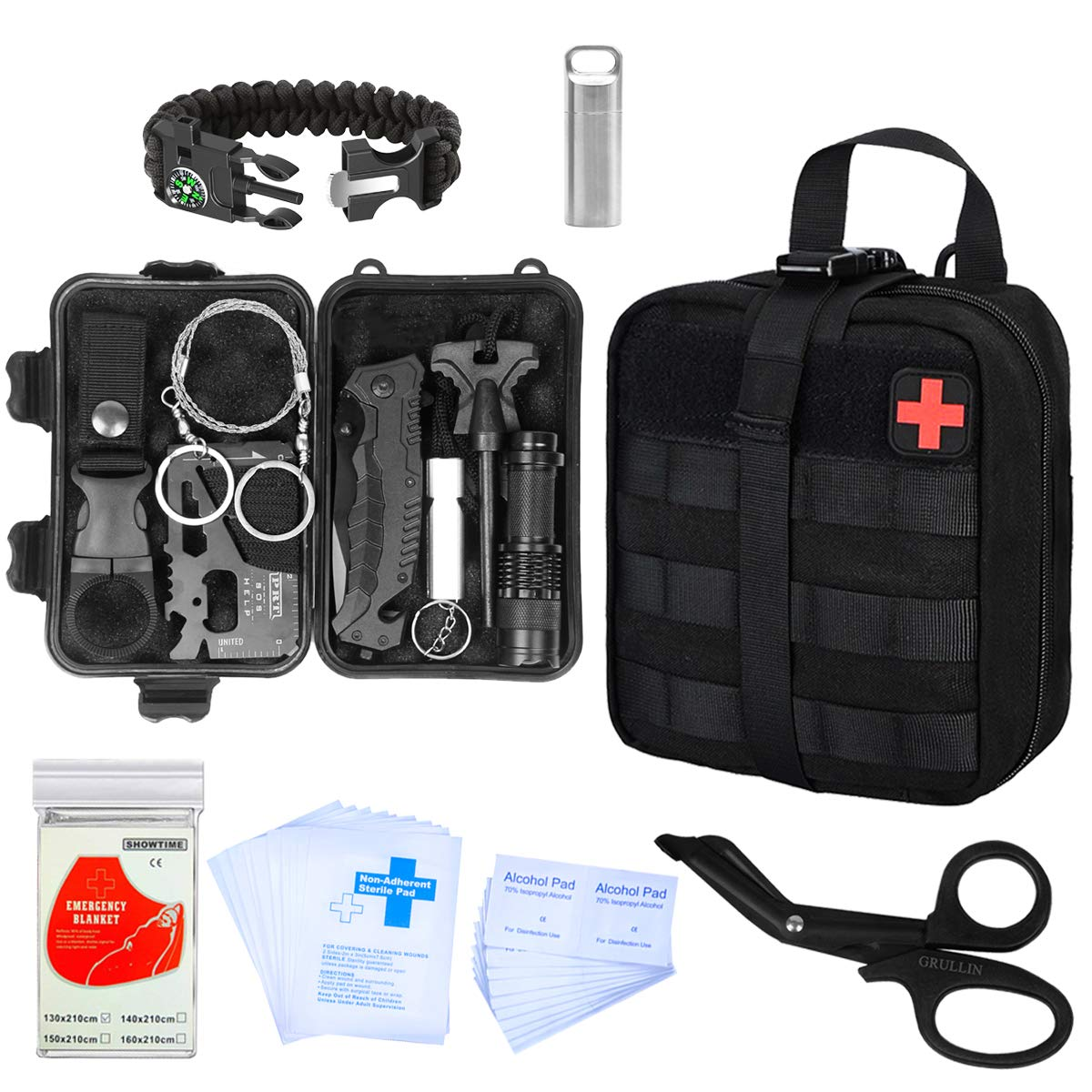 GRULLIN Emergency Survival Kit | Outdoor Survival Gear Tool with Molle Pouch, Stainless Steel Waterproof Pill Case, Survival Bracelets, Fire Starter, Whistle, Tactical Pen for Car, Camping, Hiking,