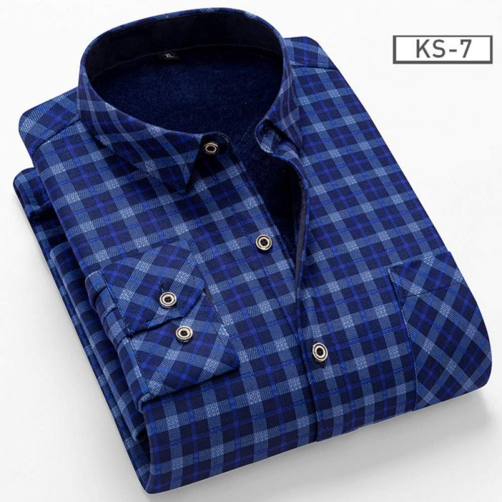 WHFDNSCS Fall Winter Casual Men Shirt Fit Slim Plaid Long Sleeve Shirt Plus Thickenning Homme