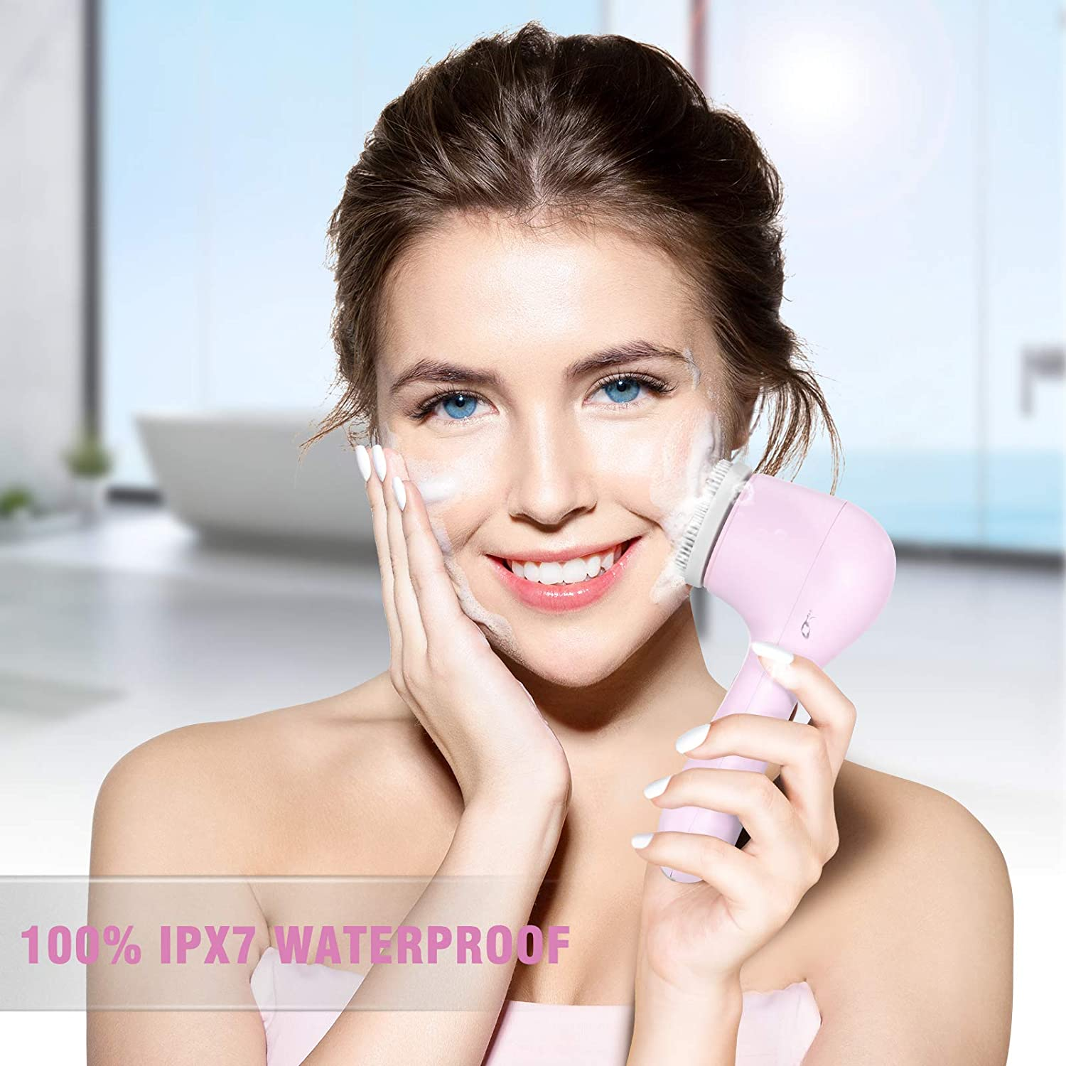 Facial Cleansing Brush, Rechargeable Face Brush Waterproof Electric Spin Face Scrub Brush with USB Charge (Pink)