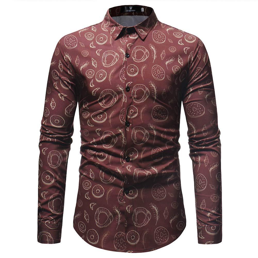 Personality Mens Fashion Printed Blouse Long Sleeve Casual Slim Shirts Tops Tee Shirt Jacket