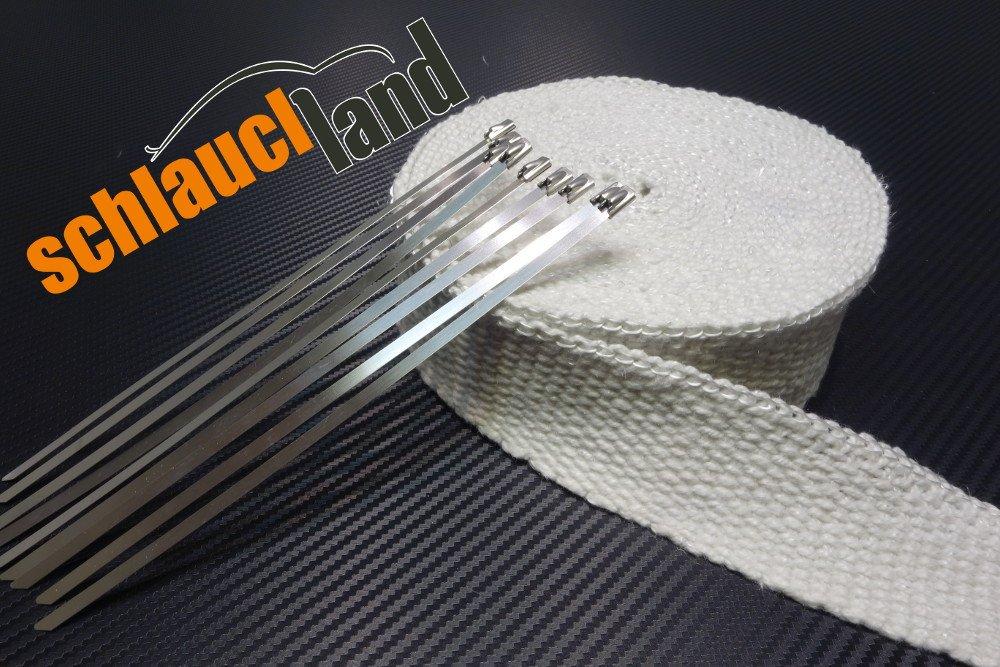 10m Keramik Hitzeschutzband 50mm weiss 1200° C + 10 Kabelbinder *** Heat Wrap Auspuff Hitzeschutz Krü mmer Isolierband Wä rmeschutz Schlauchland