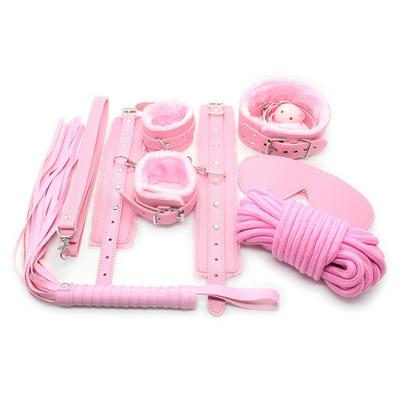 JIAHAO 7pcs Game Leather Bondage Restraint Set Blindfold Collar Gag Handcuffs Pink