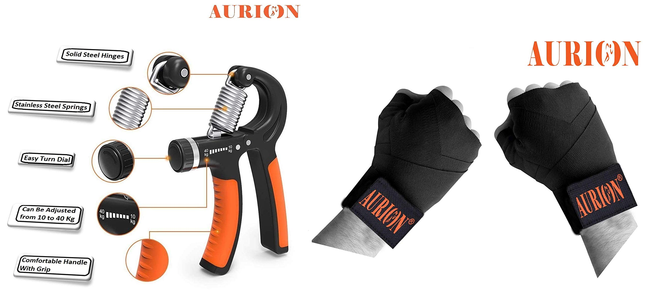 Amazon price history for AURION HANDGRIP1040 Adjustable Hand Grip, Multicolor & 3434 Canvas Boxing Hand Wraps, 108-inch (Black/Red/Blue) Combo