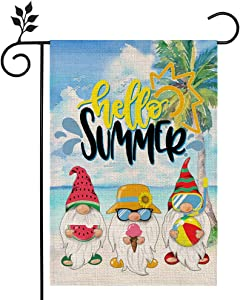 CROWNED BEAUTY Hello Summer Garden Flag Gnomes Beach 12×18 Inch Double Sided Vertical Yard Outdoor Decoration CF172-12