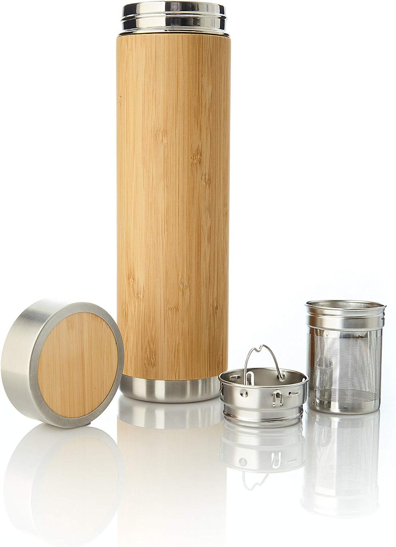 BPA-frei Doppelwandig mit Sieb Luxamel Bambus Teeflasche//Teebereiter aus Glas Detox Bambus Hell 450 ml