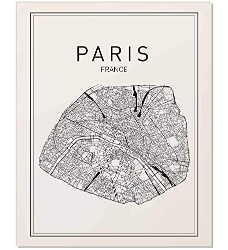 Amazon.com: Paris Map Print, Paris Map, Map Art, Map of Paris, City ...