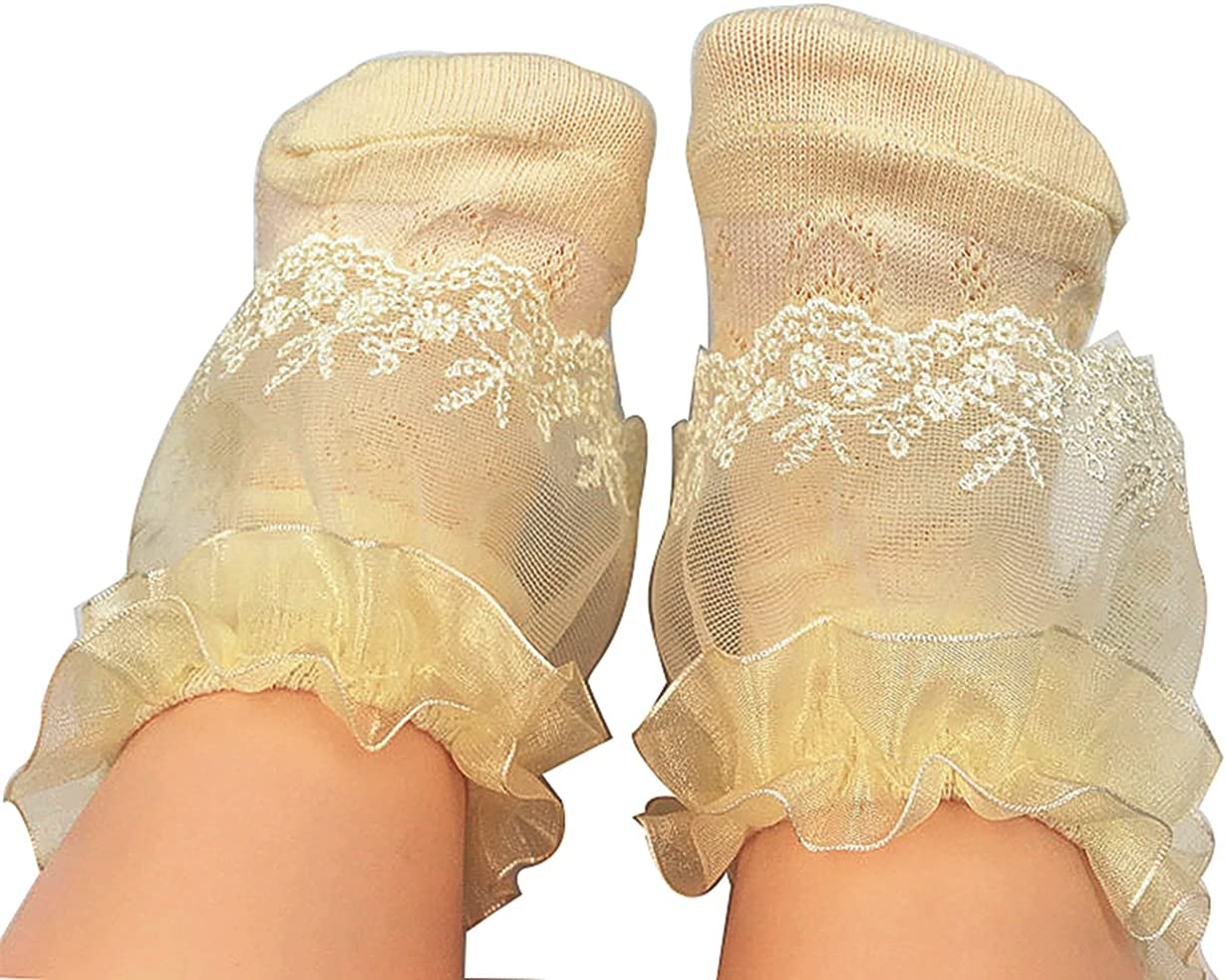 Baby Girls Frilly Lace Cotton Socks Party Wedding Christening Upto 10 Years