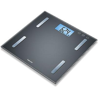 Beurer BF180 - Báscula digital de vidrio, IMC, LCD XL, 180 kg / 100 gr, apagado automatico, indicador de bateria baja, gran plataforma, color negro