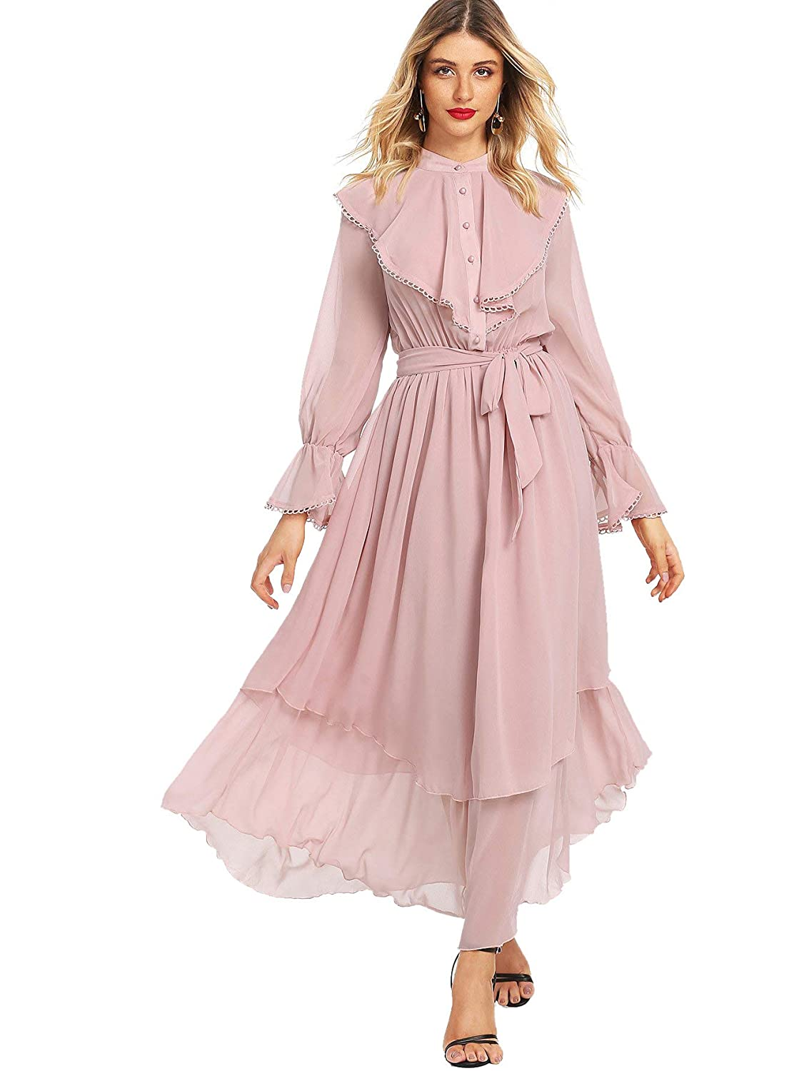 Vintage Tea Dresses, Floral Tea Dresses, Tea Length Dresses Milumia Womens Contrast Lace Ruffle Detail Crochet Trim Belted Tiered Layer Flowy Maxi Dress $26.99 AT vintagedancer.com