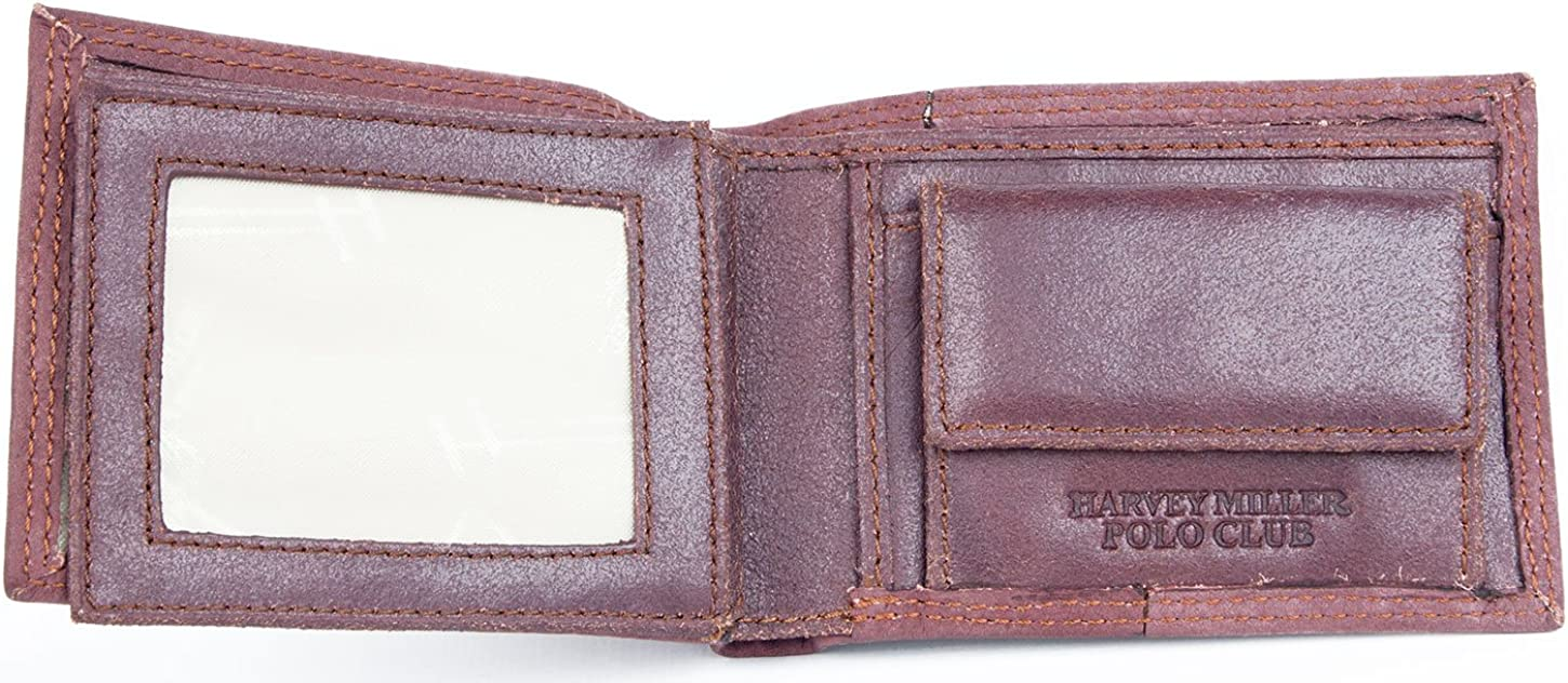 Brown redish compact sized small genuine leather wallet Harvey Miller Polo Club