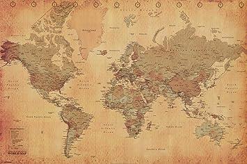 Amazon laminated world map vintage style poster print laminated world map vintage style poster print double sided laminate size 36 x 24 gumiabroncs Choice Image