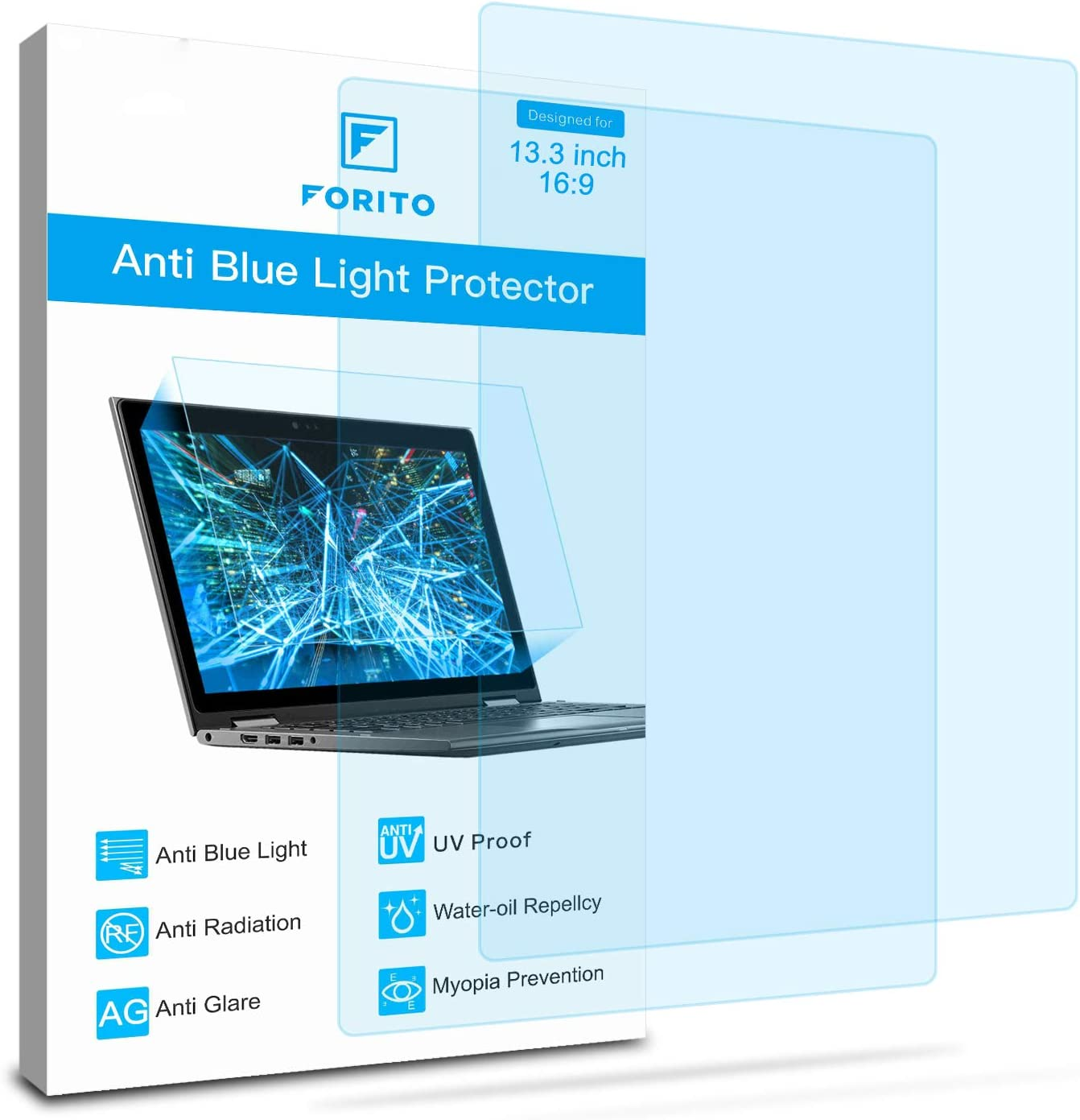 "2-Pack 13.3 Inch Screen Protector -Blue Light and Anti Glare Filter, FORITO Eye Protection Blue Light Blocking & Anti Glare Screen Protector for 13.3"" with 16:9 Aspect Ratio Laptop"