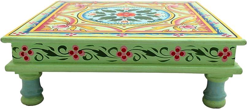 colorato Tavolino da salotto decorativo Gall/&Zick Mandala dipinto a mano stile orientale indiano in legno di mango//legno MDF