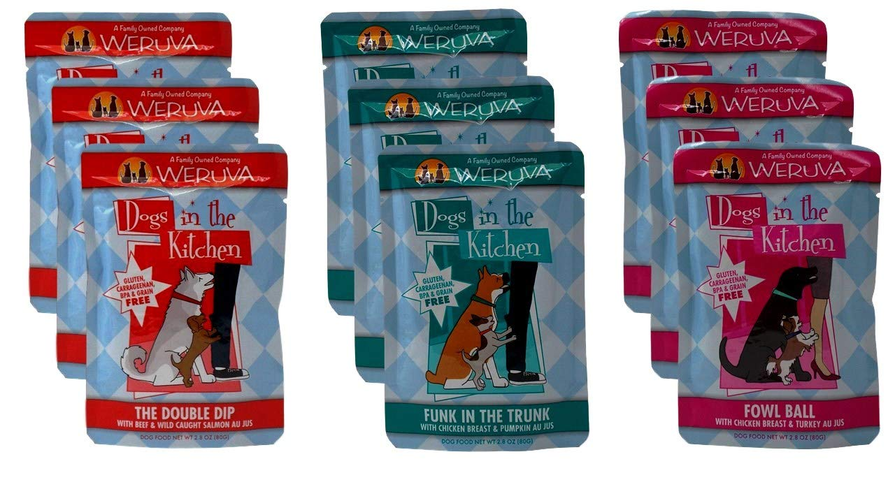 Weruva Dogs In The Kitchen Grain Free Dog Food 3 Flavor Variety 9 Pouch Bundle: (3) Funk In The Trunk, (3) The Double Dip, and (3) Fowl Ball, 2.8 Oz. Ea. (9 Pouches Total) by Weruva