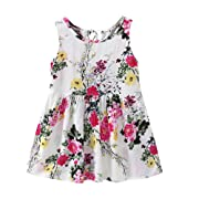 Girls Dresses Yamally Baby Kids Cartoon Floral Dress Sleeveless Stripe Dress Summer Dress Clearance Sale (18-24 Months, Multicolor #1)