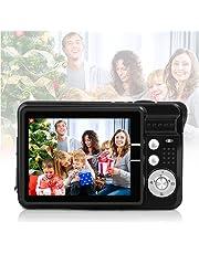 $46 » HD Mini Digital Cameras for Kids Teens Beginners,Point and Shoot Digital Video Cameras for Birthday Christmas (Black)