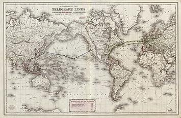 Amazon.de: 1871 Karte der Schaltung, Telegraph der Welt zeigen die ...