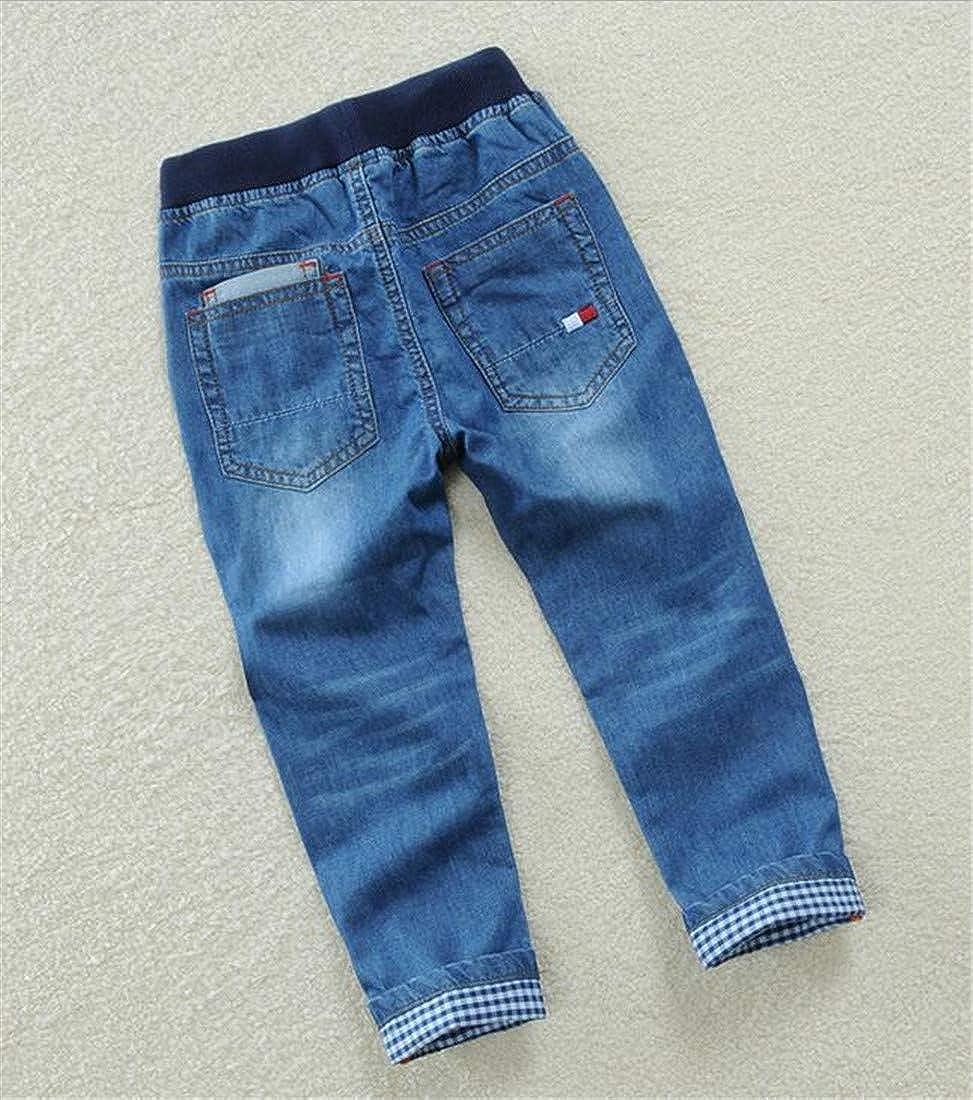 Hajotrawa Boys Drawstring Denim Jeans Trousers Basic Cute Pants