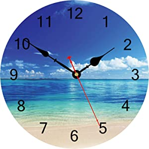TAHEAT Blue Peaceful Sea Wall Clock, Silent Non Ticking Beautiful Sky Beach Round Clocks, Easy to Read Decorative Wall Clock for Kitchen Bathroom Living Room Home Art Decor, 14 Inch