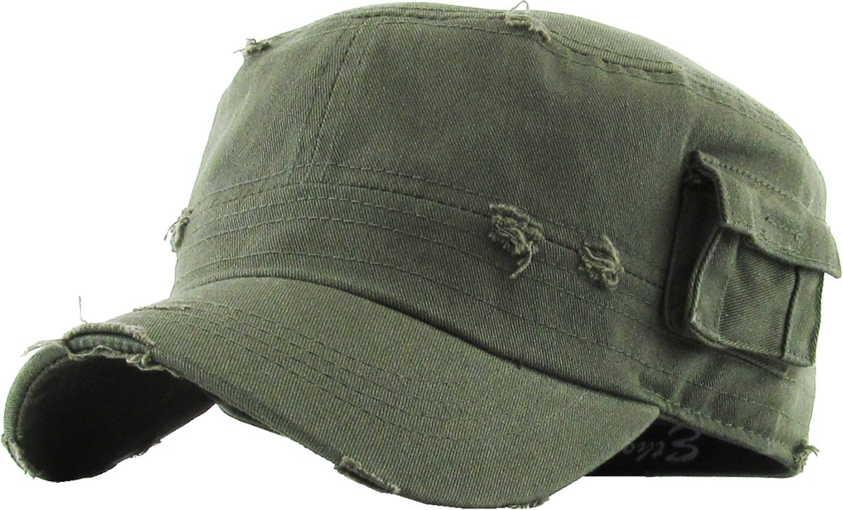 Unisex Mens Washed Out Cadet Velcroed Trucker Cap Army Military Hats Khaki