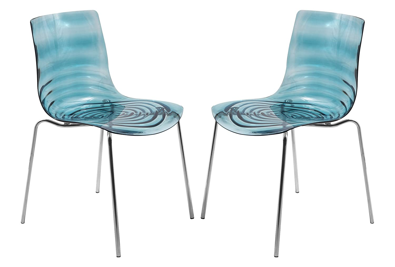 LeisureMod Water Ripple Design Modern Lucite Dining Side Chair with Metal Legs Set of 2 Blue
