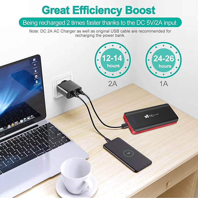 EC Technology Portable Charger 22400mAh Power Bank Ultra High Capacity 3 USB Charging External Cell Phone Battery Pack with Auto IC and Flashlight