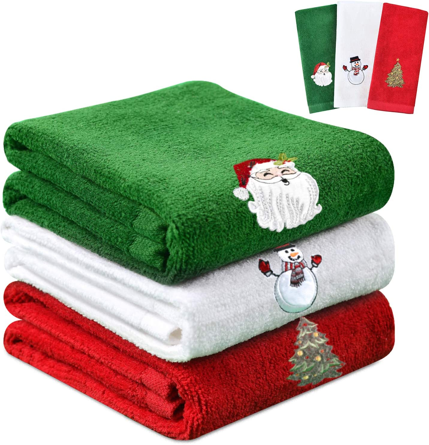 Amazon Com Yuntec Christmas Hand Towels Washcloths 100 Cotton Bathroom Kitchen Towels 18 X 12 Christmas Holiday Dish Towels For Drying Cleaning Cooking And Decoration Red White Green 3 Sets Kitchen Dining