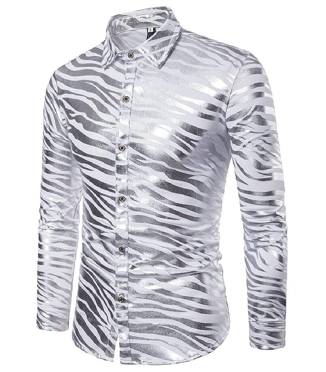 ZXFHZS Mens Striped Print Slim Fit Metallic Long Sleeve Button Down Dress Shirt