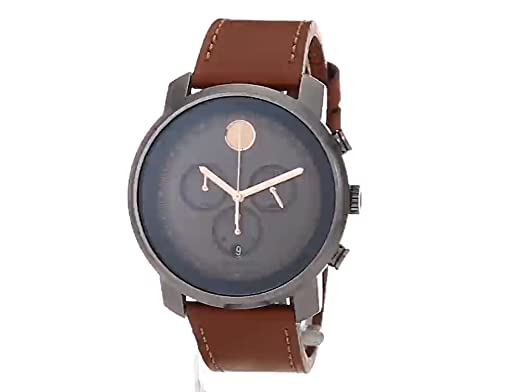 625f38b21 Amazon.com: Movado Men's Stainless Steel Swiss-Quartz Watch with Leather  Strap, Brown, 22 (Model: 3600421): Watches