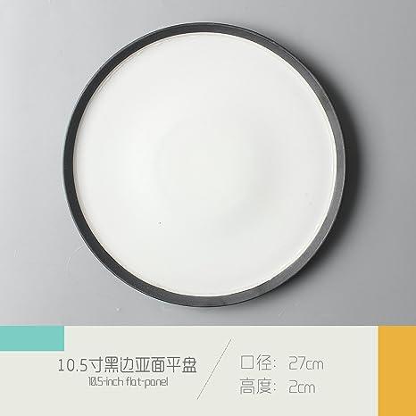 """Cubertería Swing Set_retro disco de cerámica plano japonés mesa de restaurante, 10.5"""" negro bianya"""