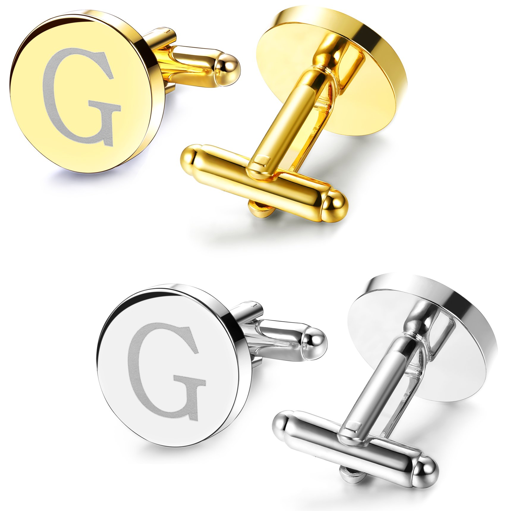 JOERICA 2 Pairs Mens Cufflinks Initial Engraved Cufflink Shirt Business Weeding 26 Letters G