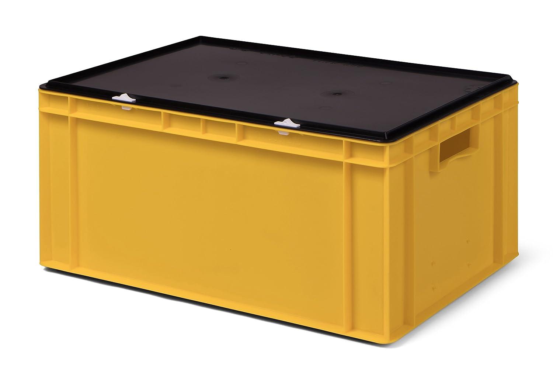 Transport-Stapelbox gelb, mit schwarzem Verschluß deckel, 600x400x281 mm (LxBxH), aus Polypropylen 1a-TopStore K-TK 600/270-0