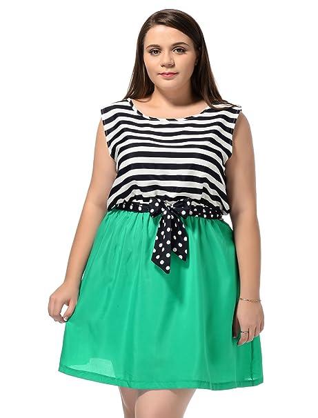 Allegra K Ladies Plus Size Sleeveless Striped Mini Tank Dress Teal