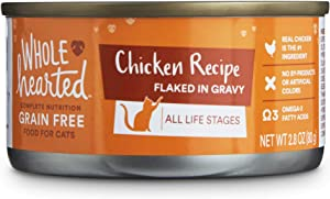 WholeHearted All Life Stages Canned Cat Food - Grain Free Chicken Recipe Flaked in Gravy, 2.8 OZ, Case of 12, 12 X 2.8 OZ