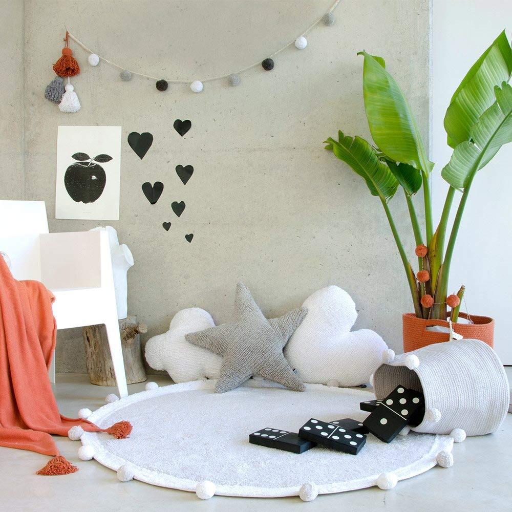 Lorena Canals Abgerundete sprudelnd waschbar Teppich, Baumwolle, Soft Pink, 120 x 120 x 30 cm