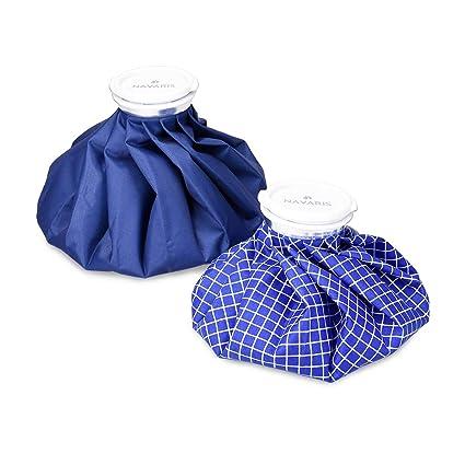 Navaris Bolsas de hielo y calor - Set de 2 bolsas para aliviar lesiones y dolores - Bolsa reutilizable caliente y fría - en blanco y azul