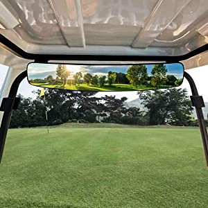 WPCUS Golf Cart Mirror, 180 Degree Rear View adjustable Side Mirrors Universal Fit for Club Car, Ezgo, Yamaha, Star (Rear View Mirror)